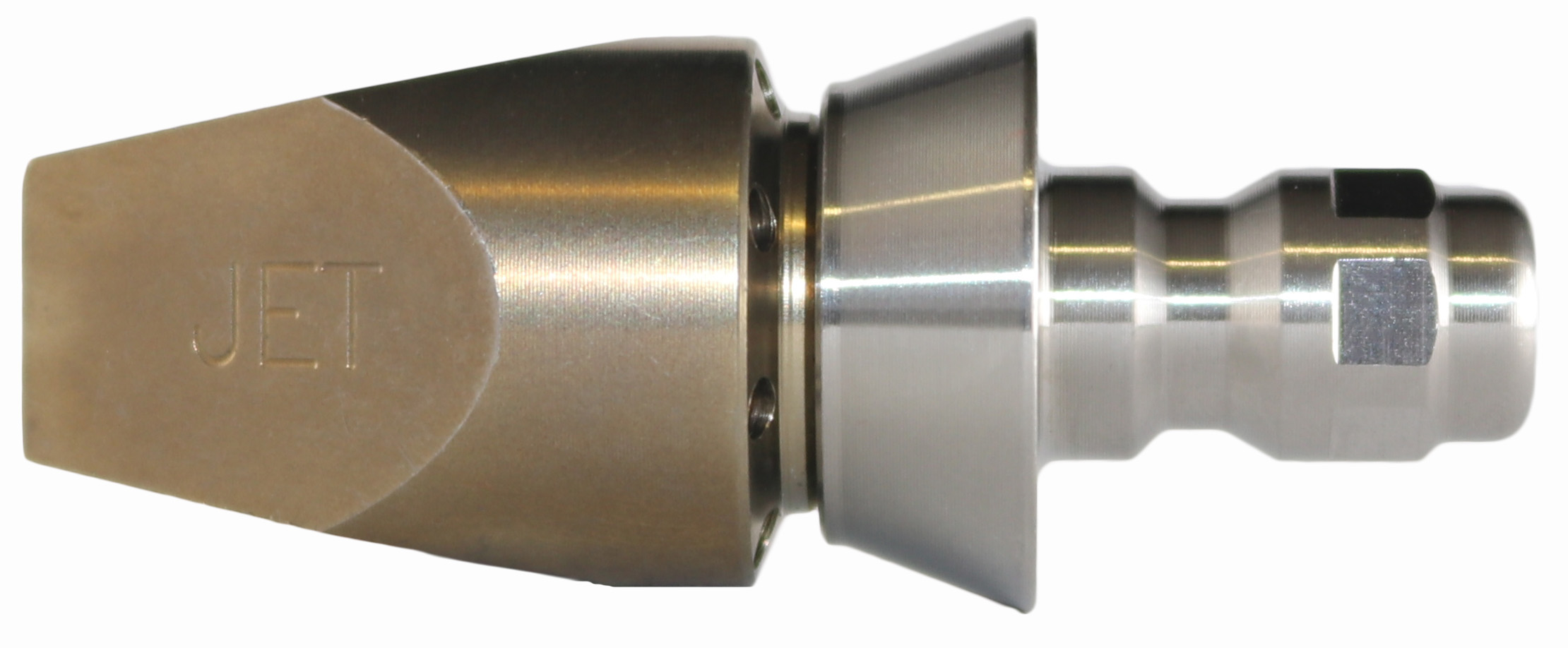 "Jetaxe Nozzle with Front Jet with SS Quick Connect Nozzle Adaptor with 1/4"" Cone"